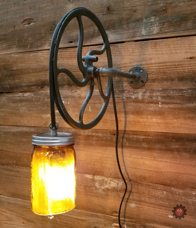 Industrial Wheel Night Stand/Wall Light