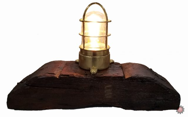 Vintage Ship Light Mounted on Hand Hewn Barn Beam